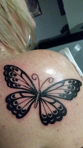 vintage butterfly By Pete Salais Owner of Pistol Petes Tattoo Saloon