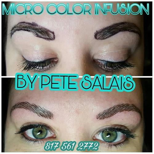 eye brow  tattoo By Pete Salais Owner of Pistol Petes Tattoo Saloon