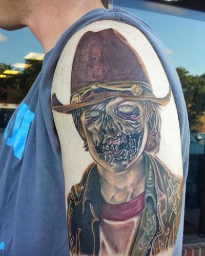 carl grimmes zombie By Pete Salais Owner of Pistol Petes Tattoo Saloon