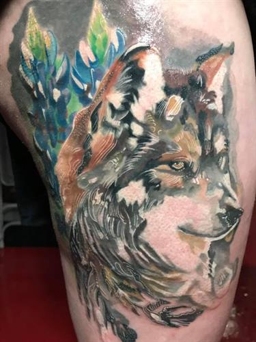 wolf bluebonnets By Pete Salais Owner of Pistol Petes Tattoo Saloon
