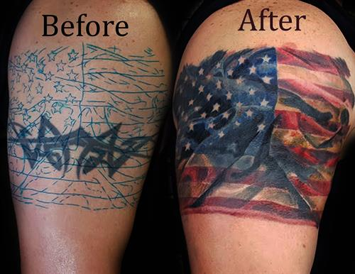 tattoo cover up with american flag By Pete Salais Owner of Pistol Petes Tattoo Saloon