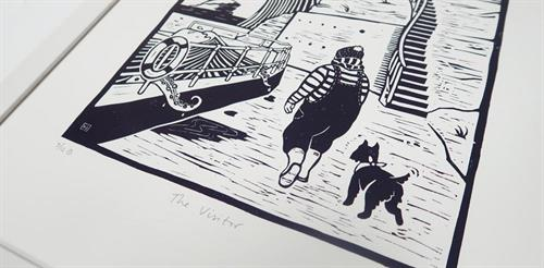 Original, limited edition linocut art by Heather Skjervik