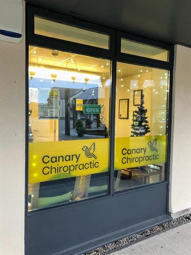 Canary Chiropractic window at Christmas