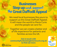 Marie Curie is asking businesses in Cornwall to Step up and support the Great Daffodil Appeal