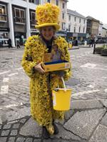 Mary Martin volunteer with The Great Daffodil Appeal collection in Truro