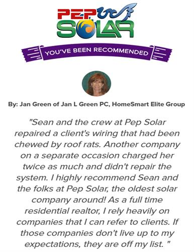 PEP Solar is recognized everywhere as the best value, most admired, and the most successful solar team in the industry with our 40 plus years installing specifically solar PV systems.