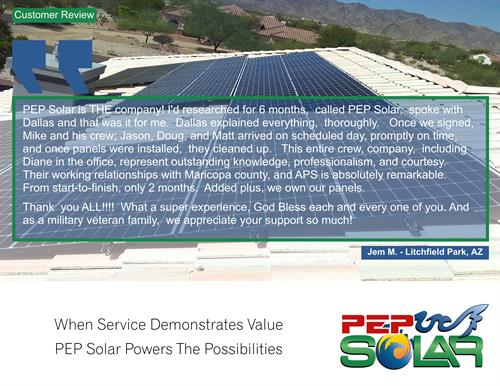 Our customers love PEP Solar, we love our Customers.