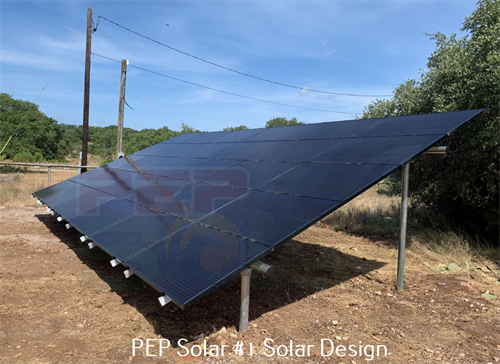 PEP Solar builds on the roof and off the roof.  Here is one of our ground mounts.