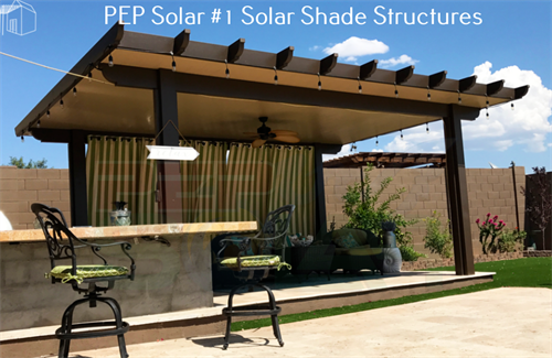 PEP Solar can provide a new found space in the backyard with our Solar Shade Structures.