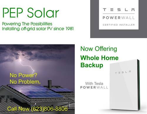 PEP Solar is a certified Tesla Installer and Powerwall reseller
