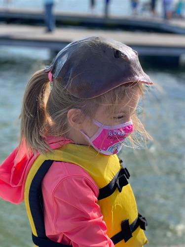 Stingray hats are cool!  Youth fishing is one of our many programs.