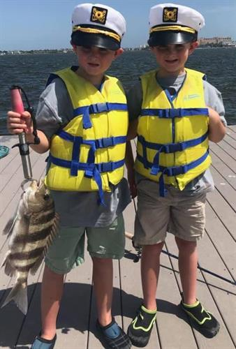 These twin Captains reeled in a sheep's head during Aquatic Adventure Camp!