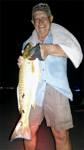 """SSBG Community Sailing member caught a 27"""" redfish off our private docks - you could too!"""