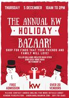 THE ANNUAL KW HOLIDAY BAZAAR!  Be prepared to be inspired! Over 20 vendors, plus a yumy bake sale to shop from!