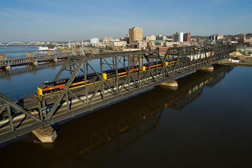 An Iowa Interstate train crosses Government Bridge in the Quad Cities.