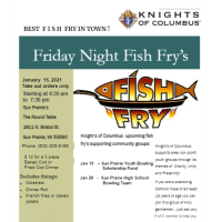 Knights of Columbus Fish Fry Jan 15th Take out