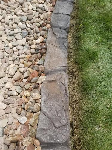 Landscape concrete edging up close