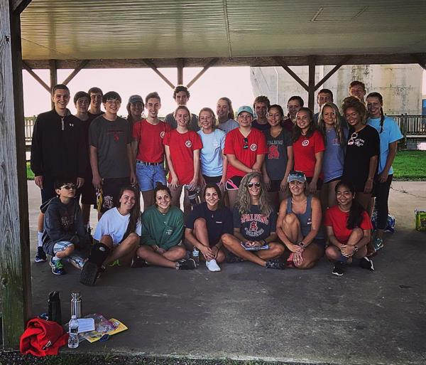 Spalding High School AP Environmental Science Teacher, Christina Mohs with KIBCU Founder Kristin Weed and Spalding Students at the 2017 International Coastal Cleanup at the Kent Narrows