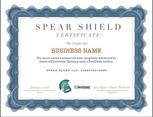 SPEAR SHIELD Certificate