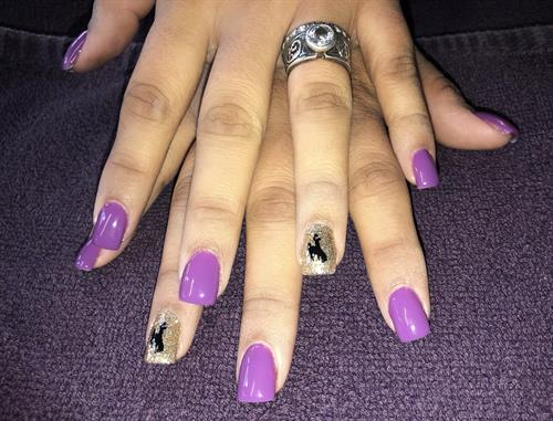 Nails with Wyoming Bucking horse