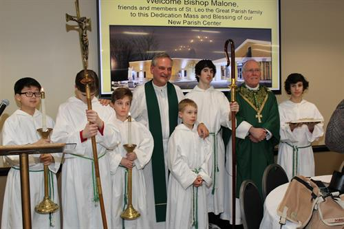 Bishop Malone Blesses the St. Leo's Parish Center at the grand opening