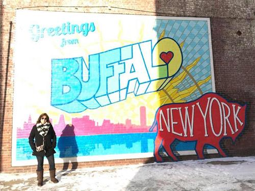 Enjoying a tour of Buffalo's street art with Hello Buffalo! Urban Hikes & Bikes
