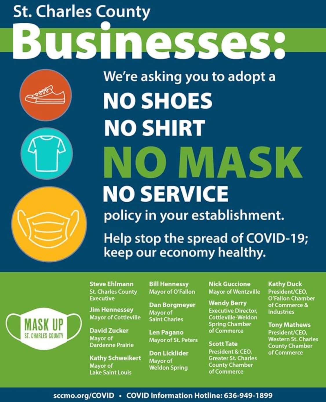 Image for ST. CHARLES COUNTY EXECUTIVE, MAYORS, CHAMBERS SEND PLEA TO LOCAL BUSINESSES: REQUIRE MASKS