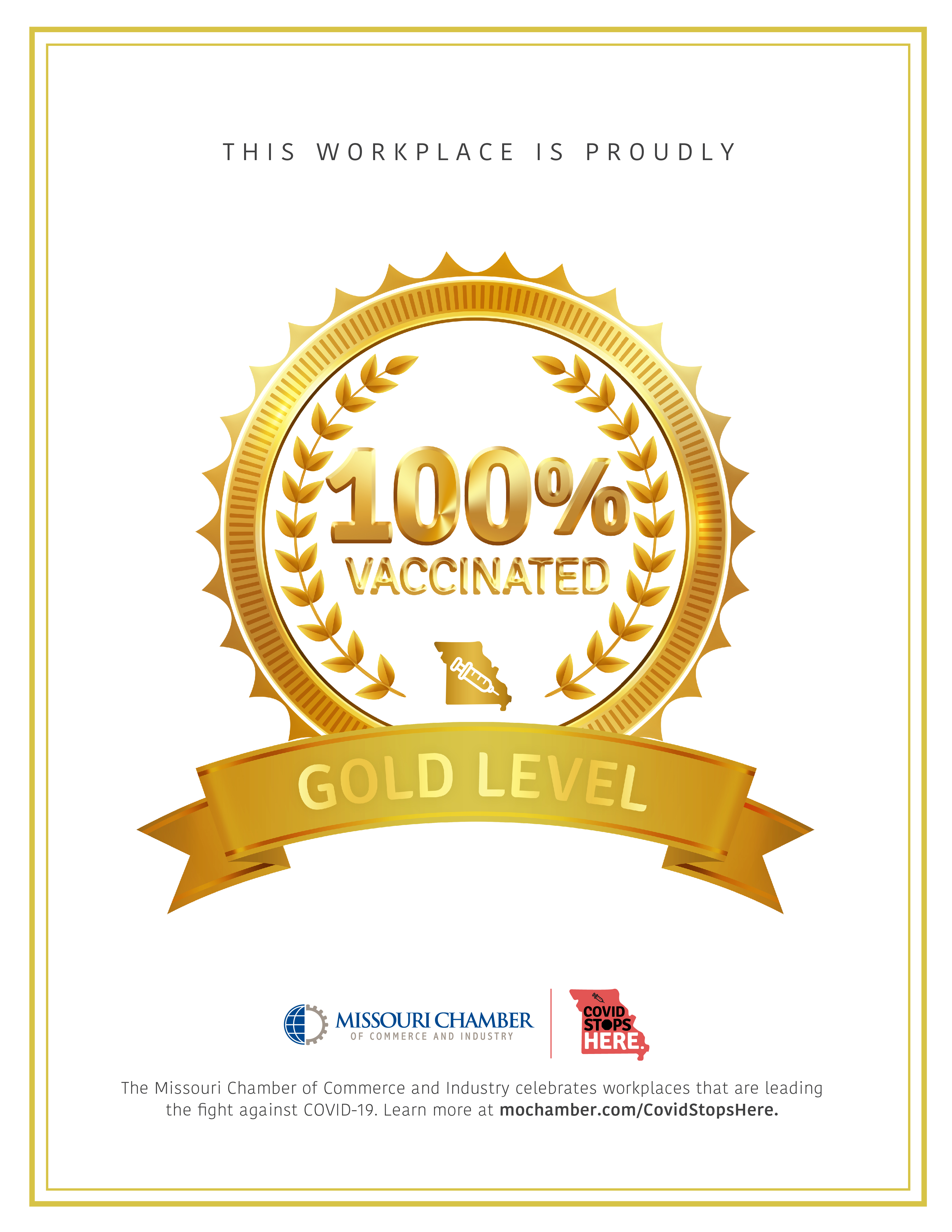 Image for Chamber Receives Gold Level COVID Stops Here Designation From Missouri Chamber of Commerce & Industry