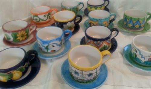 Ceramic Cappucino Cups painted in Tuscany