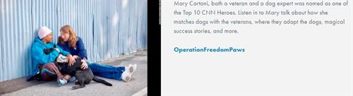 Four Paws, Two Feet, One Team - OPERATION FREEDOM PAWS