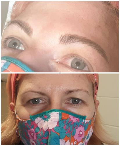 Before and after hairstroke brows.