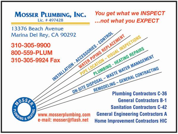 Mosser Plumbing Heating Inc Service Plumbers Malibu Chamber Of Commerce Ca