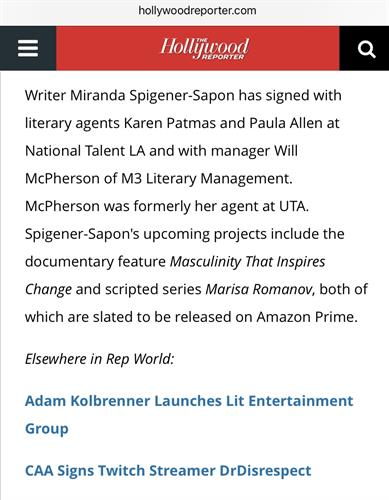 Noirtainment's President of Production Miranda Spigener-Sapon featured in The Hollywood Reporter