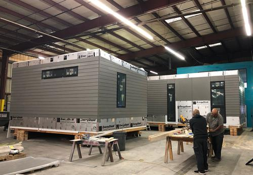 Building a home at the Plant Prefab factory for a Santa Rosa fire victim