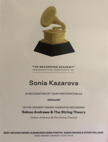 Sonia Kazarova Grammy Nomination Certificate