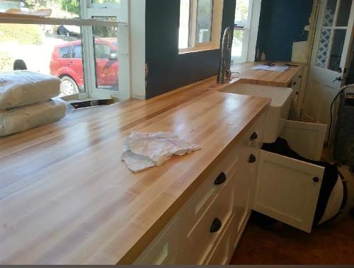 "EDGE GRAIN in Hard Maple with Food Safe Oil  Westcoast Butcher Block 26"" x 144"" x 1-3/4"" (Private Home in Studio City, CA)"