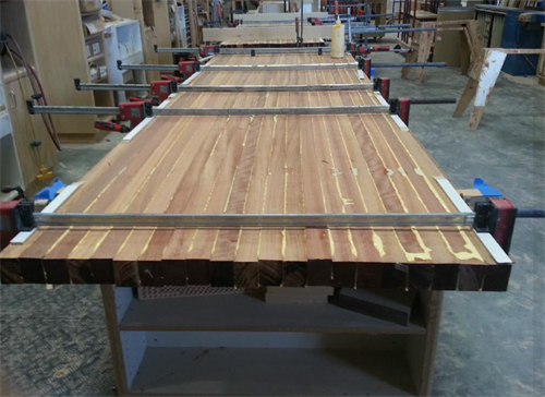 "EDGE GRAIN in JATOBA  Westcoast Butcher Block 132"" x 50"" x 2"" (Our Manufacturing in La Mirada, CA)"