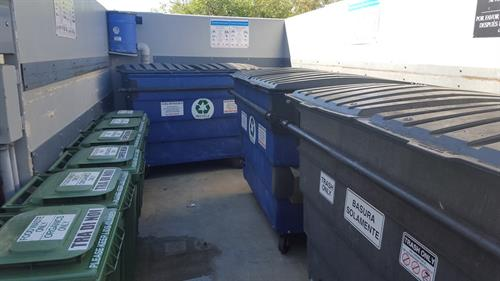 Clean and Organized Disposal Areas including Waste, Recycling, and Organics containers