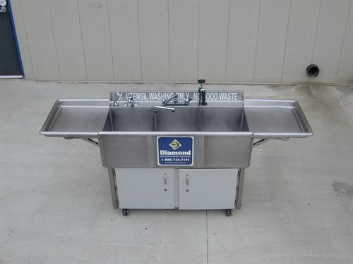 Three Compartment Sinks - Electric or Propane - Health Department Approved