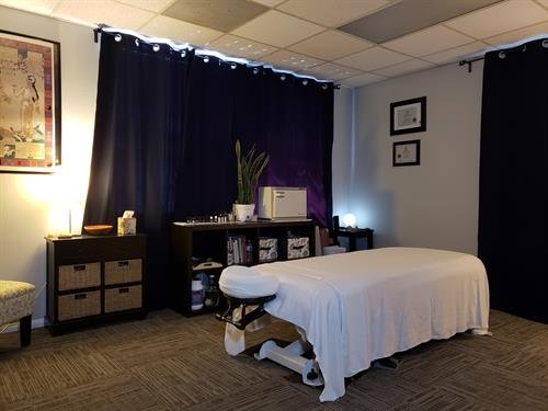 one of our three treatment rooms available at Align Bodywork & Yoga