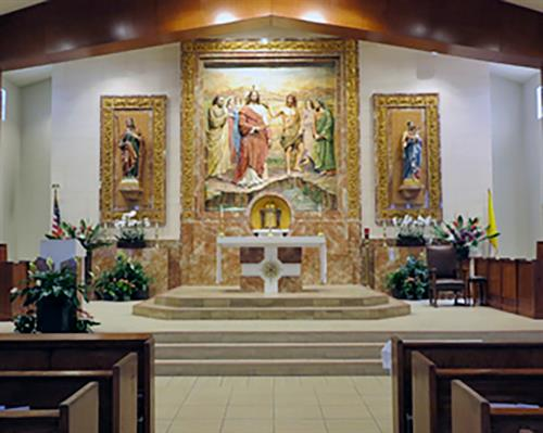 Our magnificent altar and sanctuary, designed by Arte Granda of Spain.