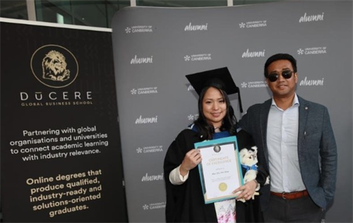 Recent alumni celebration. Congrats to May Chit-Htwe; recently completed her MBA – Innovation and Leadership