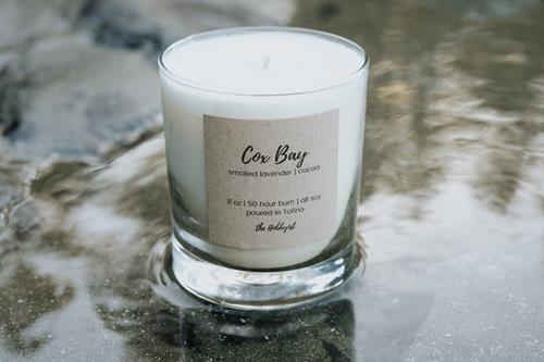 Cox Bay Candle, smoked lavender + cacao