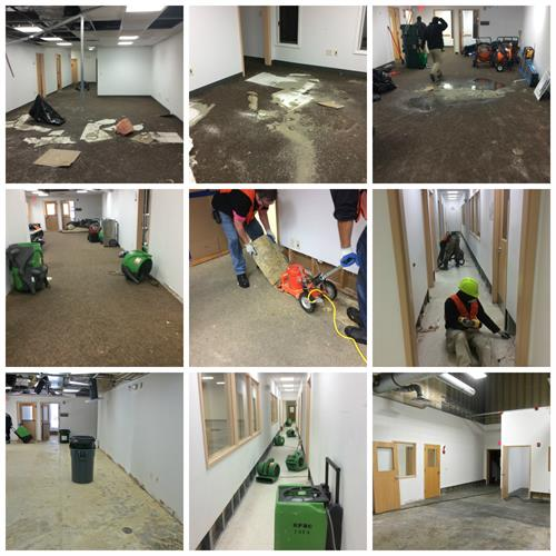 A before and after collage of a commercial water damage.