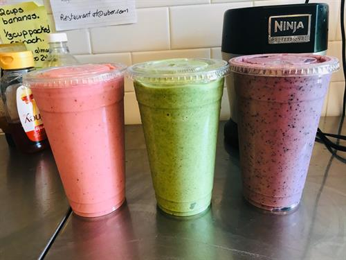 100% Real Smoothies (Strawberry Banana, Green Banana, Blueberry Nut)