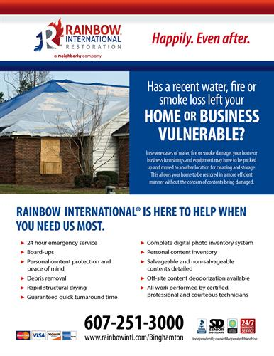 Rainbow International is here to help when you need us most