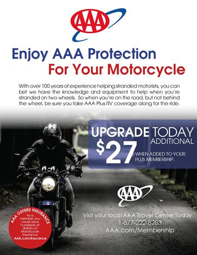AAA PlusRV offers motorcycle coverage
