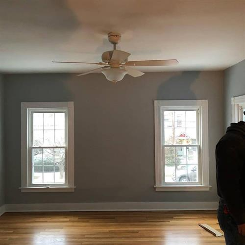 Interior paint, refinished hardwood floors