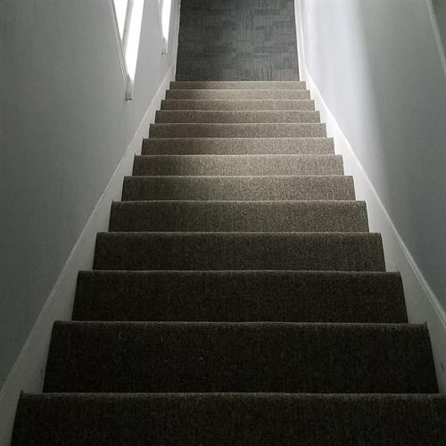 New Drywall, paint, and rebuilt stairs