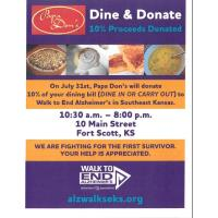 Dine & Donate event at Papa Don's to benefit Walk To End Alzheimer's